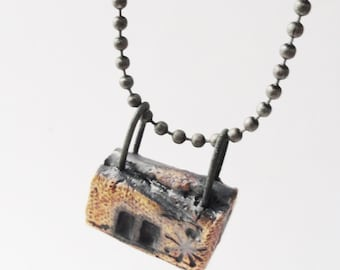 Dark House Necklace Pendant,Tiny Weird Clay House, Haunted,House Jewelry,  Burned Cottage, Strange Crooked Shack, Shotgun House,HE