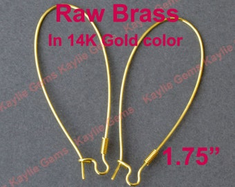 """Raw Brass Coil 1.75"""" Tall Elongated Kidney Earring Ear wire in 14K Gold Color - 24pcs"""