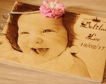 Photo Album, Personalized Wooden Photo Album,initial photo album baby, wood engraved book, album photo naissance.