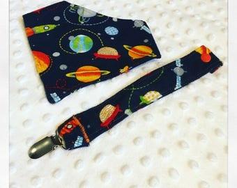 Space bandana bib + binky clip