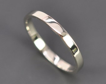 White Gold 2mm Wedding Band, 2x1mm Flat Edge Ring, 14K Palladium White Gold, Recycled Metals, Eco Friendly, Sea Babe Jewelry