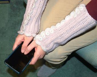 Victorian Fingerless Gloves - Pink Crocheted Wristlets, Downton Abbey Style, Women's Arm Warmers, Pink Texting Gloves, Ready To Ship