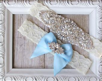 Wedding Garter Set, Bridal Garter Set, Vintage Wedding, Ivory Lace Garter, Crystal Garter Set, Something Blue - Style A, Bridal Shower gift