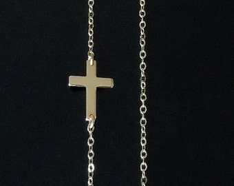 Sideways Cross Necklace - Set Off Center - 14kt Gold Filled