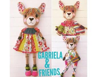 Gabriela Llama Cloth Doll with Clothes including Cactus and Piñata Felt Friends PDF Sewing Pattern