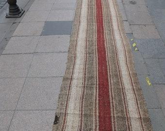 "Long Runner,Turkish Kilim Rug 360'23""x27'55"" (915x70cm),Handmade,Handwoven,Nomadic,Tribal Rug,Vintage,Simple,Straiped"