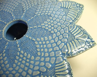 Doily Lace Ikebana Vase in Blue
