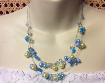 Vintage 1970s double strand blue glass and pearls beaded necklace.