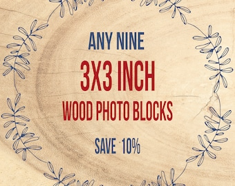 Save 10% - Wood Art, Photograph on Birch, Block Photography, Wall Art Decor - Mounted Photo Print, 3x3 inch, Ready to Hang, Mounted Prints