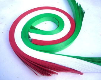 Holiday Red, Green, White~ Weaving Star Paper  (100 strips)