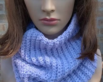 Crochet Cowl, Cowl, Infinity Scarf, Ribbed Cowl, Womens Cowl, Ribbed Scarf, Neckwarmer, Lavender Cowl, Winter Cowl, Winter Scarf