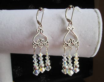 Clear Crystal AB and Sterling Silver Chandelier Earrings #2