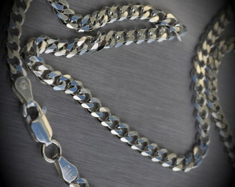 """Solid 100% Genuine Made In Italy Sterling Silver Curb Link Chain 18"""""""