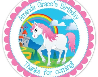 Unicorn Birthday Labels, Unicorn Stickers, Birthday Decoration, Unicorn Favors, Unicorn Party Favors