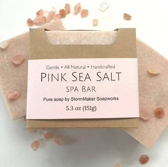 All Natural Pink Sea Salt Soap, Herbal Bath Bar, Soothing, Moisture Loving, Vegan