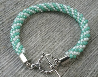 Sea Glass Green Kumihimo Bracelet with Silver Toggle Clasp