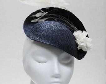 The Panthia Fascinator - Navy Headband w/ Straw - Feathers & Sweet Flower Spray