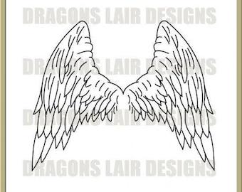 INSTANT DOWNLOAD Digi Stamps Digital Stamps Angels Wings Digital Stamp by Dragons Lair Designs - Fantasy, Angels, Wings, Angels Wings
