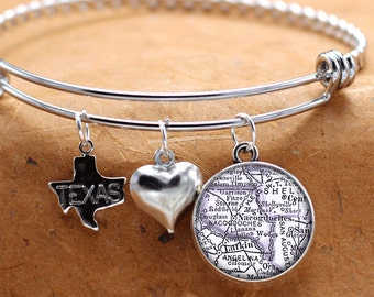 Map Charm Bracelet Nacogdoches Texas State Of TX Bangle Cuff Bracelet Vintage Map Jewelry Stainless Steel Bracelet Gifts For Her