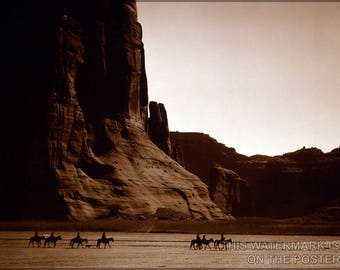 Poster, Many Sizes Available; Canyon De Chelly – Navajo. Seven Riders On Horseback And Dog Trek Against Background Of Canyon Cliffs, 1904