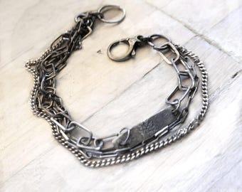 Raw Bracelet, Raw Silver, Multi strand Bracelet Silver Chain