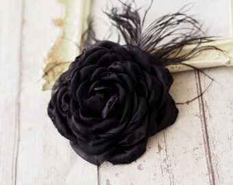 Black Hair Accessory, Black Wedding Accessory, Black Hair Clip, Black Hair Flower, Black Headpiece, Black Fascinator