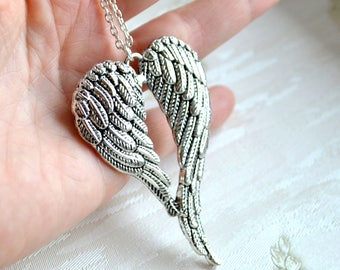 Large wings necklace Layered necklace Bohemian jewelry Angel wings necklace Boho jewelry Layering jewelry