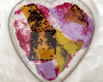Fused Art Glass Heart Paperweight Modernist Romance