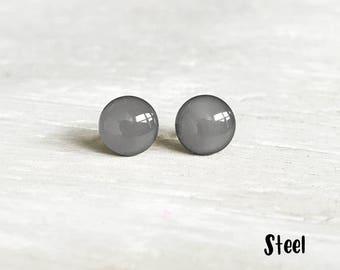 Gray earrings, Gark Grey stud earrings, Gray post earrings, Waterproof earrings, Gray studs, Tiny earrings, Ear Sugar earrings, EarSugar