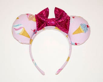 Glitter Ice Cream Cone Minnie Mouse Ears
