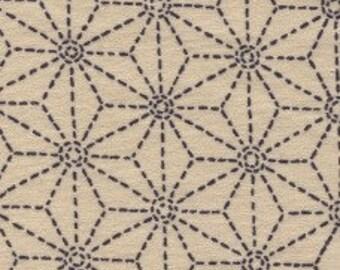 Fabric - Sevenberry beige stitched star print - medium weight woven cotton