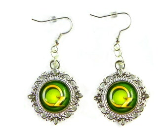 The Wizard of OZ Emerald Green & Gold Lettering Glass Silver Earrings