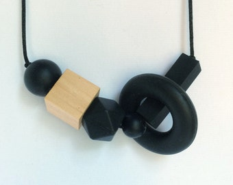 Black teething /nursing necklace, geometric shapes chew beads