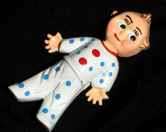Cupie Doll KewPie Vintage Brooch Pin Boy Baby Shower Blue Love Antique Mid Century Cold Enamel Heavy Polka Dot PJs Moms Mother's Gift Unique