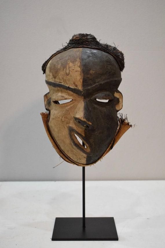African Mask Pende Tribe Congo Hunter Healer Wood Rafia African Mask