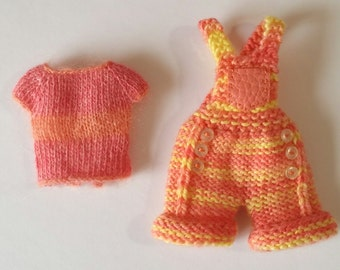 """PDF knitting Pattern - Summer Days hotpants and t shirt  for 12"""" Blythe"""