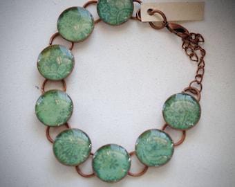 Blue Green Floral Design Copper Resin Bracelet