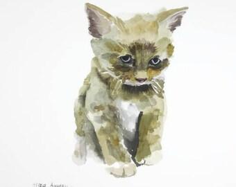 ORIGINAL watercolor painting, Kitten watercolor, Cat watercolor, Cat painting, Ginger cat, Baby Nursery, Wall Art, Wall Decoration