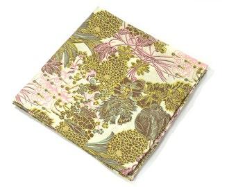 Wedding Mens Pocket Square -Kurt Schaffenberger- Yellow Gold and pink Flowers Liberty cotton