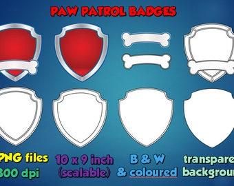 Paw Patrol Badge Outline Emblem Logo Image Clipart Transparent Background PNG RGB Digital Instant Download for use in digital work