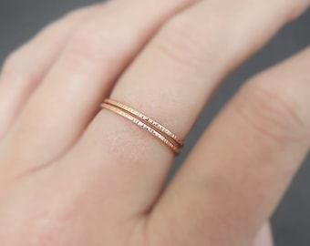 Thin Gold Rings or Rose Gold Rings Valentines Day textured band hammered stacking ring knuckle ring