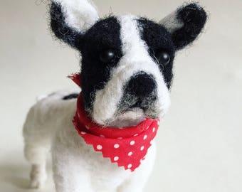 Nadel gefilzte Wolle Faser französische Bulldogge Skulptur