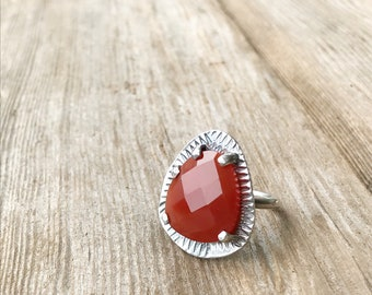 Faceted Russet Carnelian Sterling Silver Ring