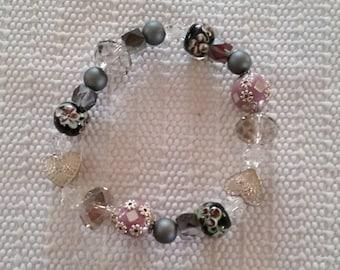 Ube Halaya Kashmiri Bead and Hearts Stretch Bracelet Handmade