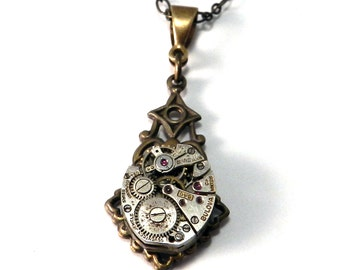 Steampunk Necklace, Antique Watch Movement, Clockwork Necklace in Brass, Steampunk Jewelry by compassrosedesign