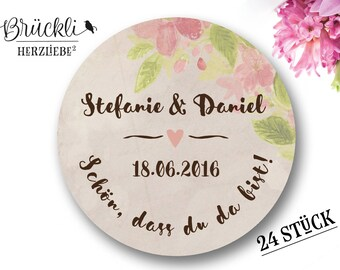 """Stickers, wedding """"I'm glad you're here"""" (vintage) / guestbooks / wedding / gifts"""