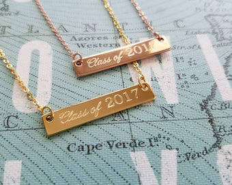 Graduation Necklace, Graduation Gift, Class of 2018 gift, Grad Necklace, Grad Jewelry, Grad Gift, Custom Necklace, Personalized Bar Necklace