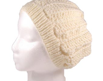 Slouchy hat, knit beanie, lacy beret, merino toque, hand knit, lacy tam, openwork pattern, white hat, tam, knit beret, all wool, white wool