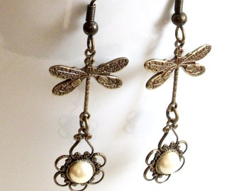 Brass Dragonfly Earrings - Pearl Earrings, Filigree Earrings, Dragonfly Jewelry