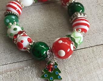 HOLLY JOLLY Chunky Bracelet, Christmas Accessories, Costume Jewelry, Secret Santa Gift, Stocking Stuffer
